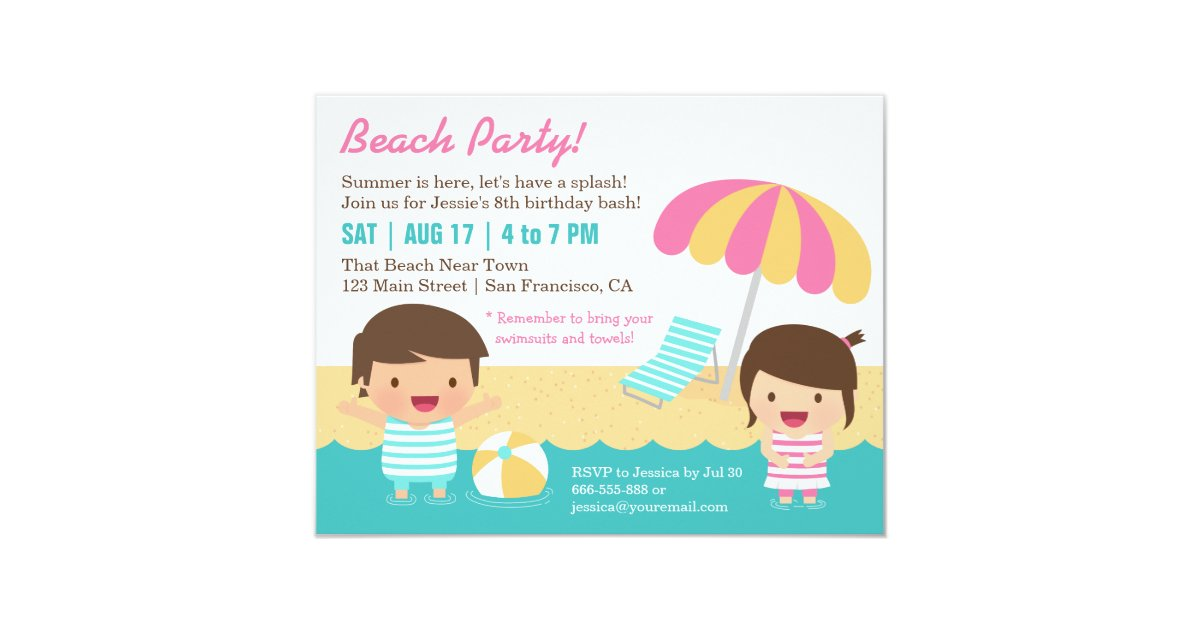 Cute Kids Swimsuits Beach Birthday Party Card   Zazzle.com