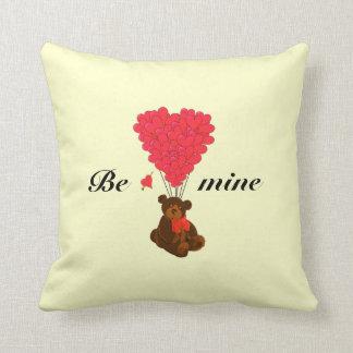 Cute kids teddy bear valentines love heart throw pillow