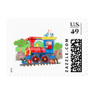 Cute kids template photo colorful steam train postage