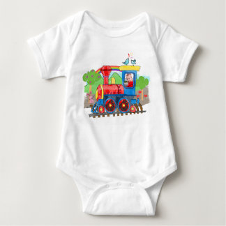 Cute kids template photo train colorful baby bodysuit