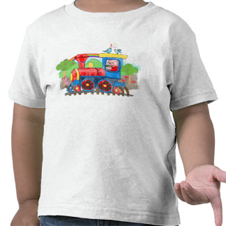 Cute kids template photo train colorful t-shirt