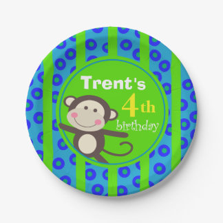 Cute Kids Toy Monkey Birthday Party   blue green Paper Plate