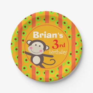 Cute Kids Toy Monkey Birthday Party orange pumpkin Paper Plate