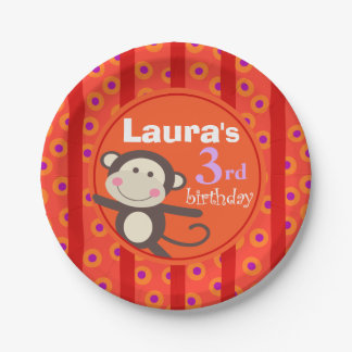 Cute Kids Toy Monkey Birthday Party | orange red Paper Plate