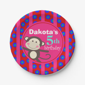 Cute Kids Toy Monkey Birthday Party   red fuchsia 7 Inch Paper Plate