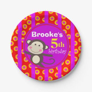Cute Kids Toy Monkey Birthday Party | red purple Paper Plate