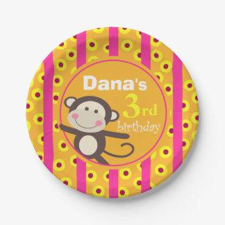 Cute Kids Toy Monkey Birthday | pumpkin fuchsia Paper Plate