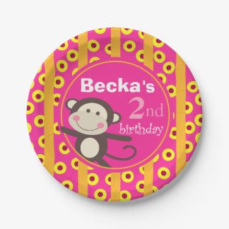 Cute Kids Toy Monkey Birthday | pumpkin fuchsia Paper Plate