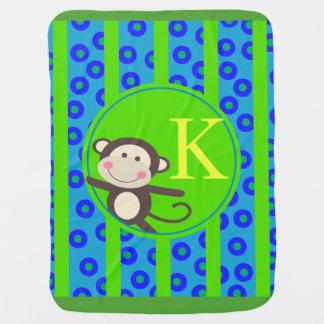 Cute Kids Toy Monkey Monogram | blue green Swaddle Blankets