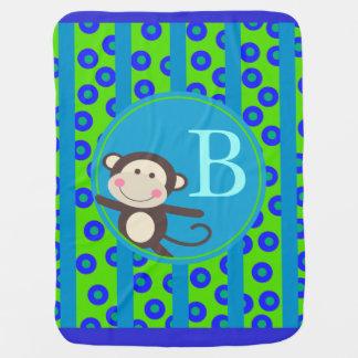 Cute Kids Toy Monkey Monogram | green teal Baby Blankets