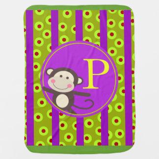 Cute Kids Toy Monkey Monogram   olive purple Receiving Blanket