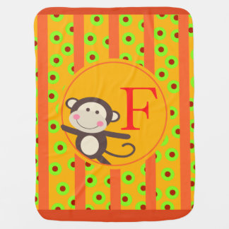 Cute Kids Toy Monkey Monogram | orange pumpkin Stroller Blanket