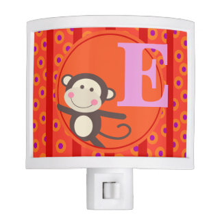 Cute Kids Toy Monkey Monogram | orange red Night Light
