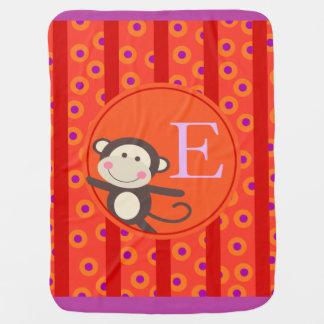 Cute Kids Toy Monkey Monogram | orange red Stroller Blanket