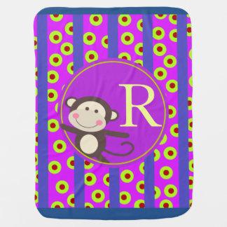 Cute Kids Toy Monkey Monogram | orchid blue Receiving Blanket