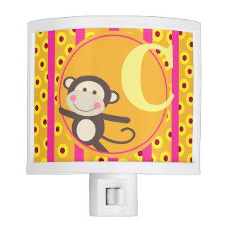 Cute Kids Toy Monkey Monogram | pumpkin fuchsia Night Light