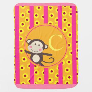 Cute Kids Toy Monkey Monogram | pumpkin fuchsia Stroller Blanket
