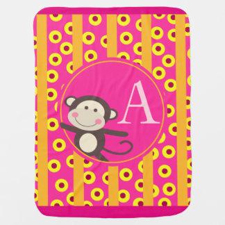 Cute Kids Toy Monkey Monogram | pumpkin fuchsia Baby Blanket