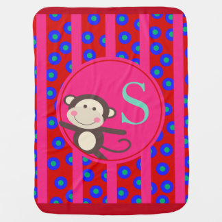 Cute Kids Toy Monkey Monogram | red fuchsia Swaddle Blanket