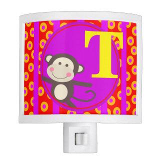 Cute Kids Toy Monkey Monogram | red purple Night Light