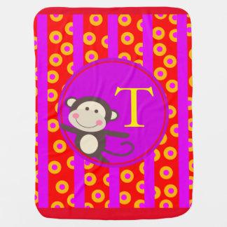 Cute Kids Toy Monkey Monogram | red purple Receiving Blanket