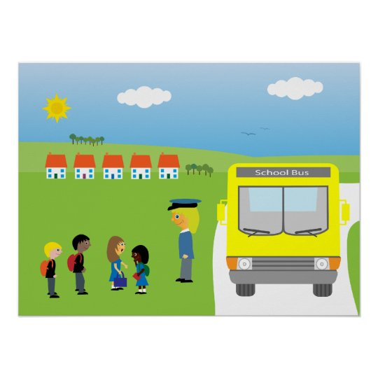 Cute Kids Waiting To Get On School Bus Poster