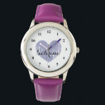 "Cute Kid&#39;s watch with purple heart and girls name<br><div class=""desc"">Cute Kid&#39;s watch with girly purple heart and childs name. Personalizable wrist watches for boys and girlie girls. Cute Birthday gift idea for children or grandchildren like granddaughter. Elegant script text.</div>"