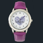 """Cute Kid&#39;s watch with purple heart and girls name<br><div class=""""desc"""">Cute Kid&#39;s watch with girly purple heart and childs name. Personalizable wrist watches for boys and girlie girls. Cute Birthday gift idea for children or grandchildren like granddaughter. Elegant script text.</div>"""