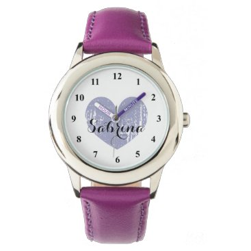 logotees Cute Kid's watch with purple heart and girls name
