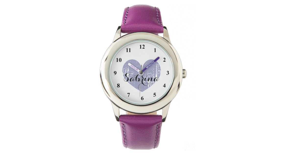 Cute Kid\'s watch with purple heart and girls name | Zazzle.com