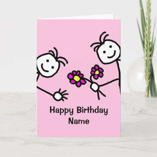 Cute Kids Waving Flowers Birthday Card