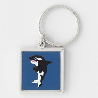 Cute killer whale Silver-Colored square keychain