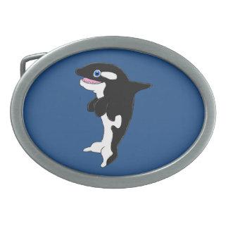 Cute killer whale oval belt buckle