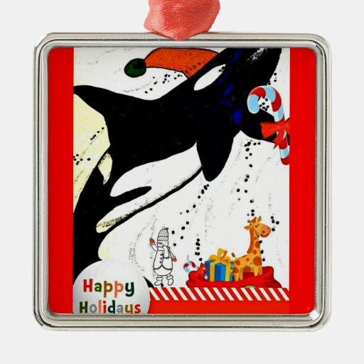 Cute Killer Whale Santa Holiday Ornament