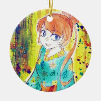 Cute Kimono Girl Watercolor Painting Ceramic Ornament
