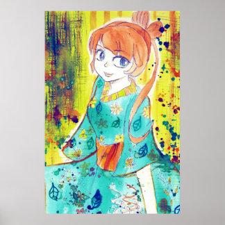 Cute Kimono Girl Watercolor Painting Poster