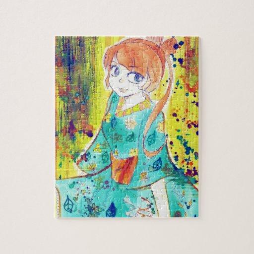 Cute Kimono Girl Watercolor Painting Jigsaw Puzzles