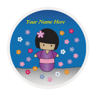 Cute Kimono Kokeshi Doll to go on top of Cupcake Edible Frosting Rounds