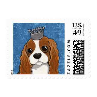 Cute King Charles Spaniel Dog Illustration Stamp