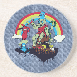 cute king of the friendly monsters vector cartoon drink coaster