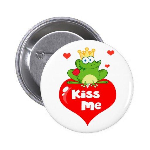 cute kiss me frog prince on heart cartoon pinback button