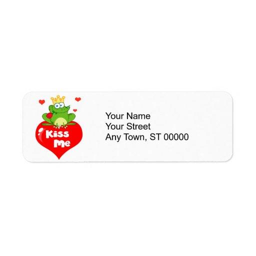 cute kiss me frog prince on heart cartoon return address label
