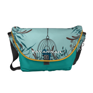 Cute Kissing Birds In Bird Cage You Choose Colors Courier Bag