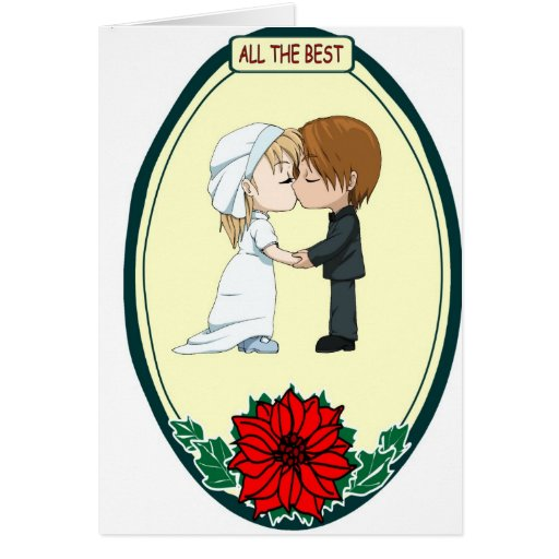 Cute kissing couple, All the best Card