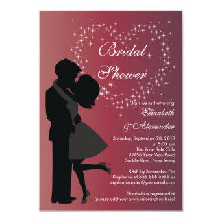 Cute Kissing Couple in Love Bridal Shower Custom Invitations