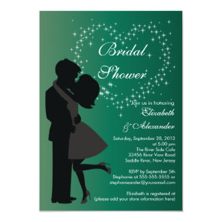 Cute Kissing Couple in Love Bridal Shower Announcement