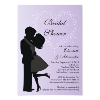 Cute Kissing Couple in Love Bridal Shower Personalized Invites