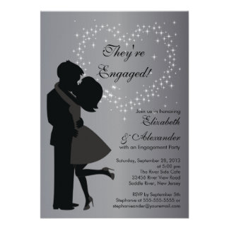 Cute Kissing Couple in Love Engagement Party Custom Invite