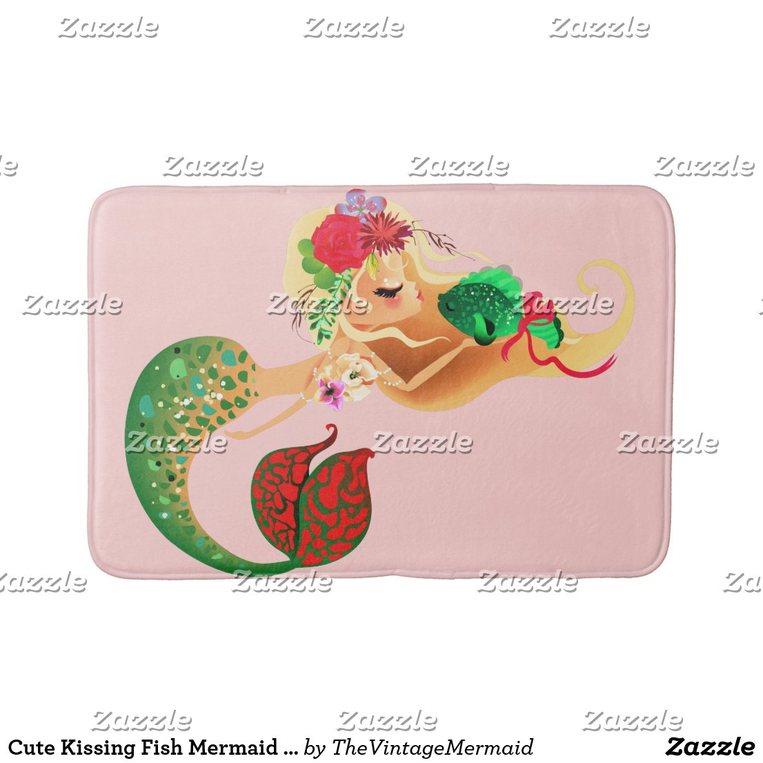 Cute Kissing Fish Mermaid Medium Bath Mat
