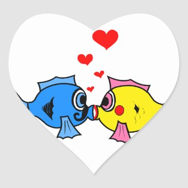 Christmas Themed Cute Kissing Fish with Hearts Design Heart Sticker
